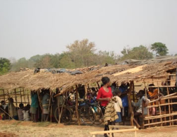 shelter used for drying tobacco being used as a temporary school.